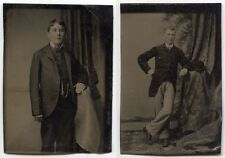 BROTHERS - DAPPER YOUNG MEN IN GREAT SUITS SET OF 2 TINTYPES/STUDIO PORTRAITS