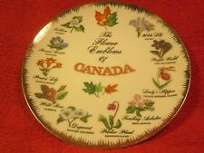 "8"" PORCELAIN Collector Plate THE FLOWER EMBLEMS OF CANADA Hand Painted [Z60]"