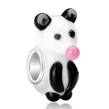 European charm bead - Murano Glass Lampwork Animal black & white rat bear