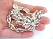 BEAUTIFUL VINTAGE JULIANA? CLEAR RHINESTONE FLOWER PIN W/NAVETTE & ROUND STONES