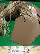 New 500 Brown Scallop Paper Price Tags Strung Boutique Retail Clothes 1 x 1 5/8""