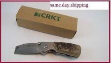 CRKT RAZEL STUBBY Folding Knife Chisel Tip Blade w/ RAM HORN HANDLES 4020RH NEW