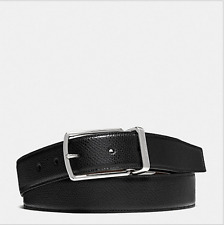 NWT COACH MODERN HARNESS CUT-TO-SIZE REVERSIBLE SMOOTH LEATHER BLACK BELT F59116