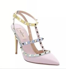 Valentino New Authentic Pastel Pink Watercolor Rockstud Studded High Heels 38