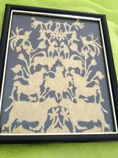 Antique Victorian Framed Cow And Aniamal Cut Work Exquiste Antique Picture