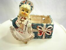 VINTAGE LEFTON 024 CHRISTMAS BLOOMER GIRL PLANTER WALL POCKET GIFTS PRESENTS