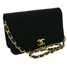 Authentic CHANEL Quilted Chain Shoulder Bag Black Cotton Vintage GHW NR09276