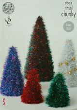 KNITTING PATTERN Tinsel Christmas Tree Toys/Ornaments 3 sizes Tinsel Chunky 9035