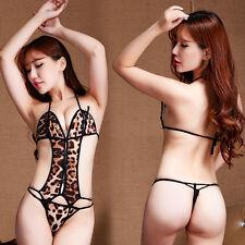 Sexy Women's Open Crotch Silk Leopard Body Stocking Bodysuit Lingerie Sleepwear