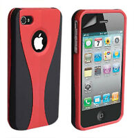 Stylish Grip Series Black Red Hard Cover Case For iPhone 4 4G 4S + Screen Guard
