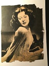 Hedy Lamarr Unique Vintage Large Autographed Newspaper Clipping, 1940s