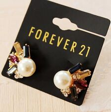 New Forever21 Stud Earrings Gift Fashion Jewelry Gold Tone Rhinestone Faux Pearl