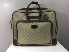 Authentic 1960`s Vintage Authentic Gucci GG Canvas Leather Suitcase Travel Bag