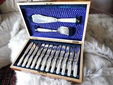 Antique 26 pc Mother of Pearl, silver plate cased Fish Cutlery Set incl. server