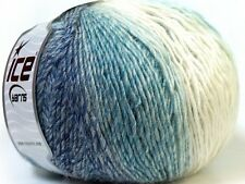 Lot of 4 x 100gr Skeins Ice Yarns MIRAGE COLOR (50% Wool) Yarn White Light Blue
