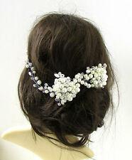 White Silver Pearl Bead Headpiece Bridal Hair Vine Vintage Wedding Headband 240