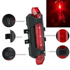 5 LED USB Rechargeable Bike Cycling Bicycle Tail Rear Safety Warning Light Lamp