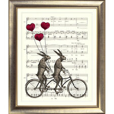 ART PRINT VINTAGE MUSIC SHEET pagina LEPRE BIKE TANDEM HEART BALLOON RABBIT ciclo