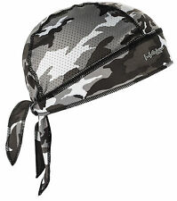 GREY CAMO HALO BANDANNA SKULL CAP UNDER HELMET DU RAG HUNTING PAINTBALL GYM BIKE