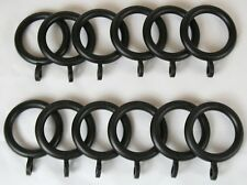 12 x Black Curtain Rings 19mm Pole New