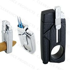 Vector KGM Xcaliber Dual Jet Torch Lighter w/ Cigar Cutter - Black Crackle Matte