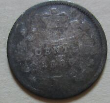 1885 KEY DATE Canada Silver Five Cents Coin. (F490)