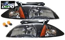 00-02 Chevrolet Cavalier Black Head Lights OE Style with Corners Combo DEPO