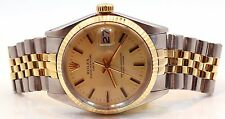 Rolex 14K Solid Yellow Gold SS Date 1500 34MM Gold Dial Jubilee Band