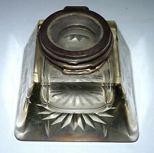 Antique Vtg Crystal Glass Large Inkwell w/Sterling Silver Lid Hallmakers Mark a4