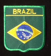 BRAZIL BRAZILIAN  NATIONAL FLAG BADGE IRON SEW ON PATCH CREST SHIELD BACKPACKER