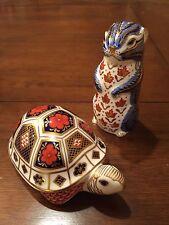 Royal Crown Derby Turtle and Chipmunk Imari Figurines