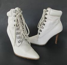 Colin Stuart for Victoria's Secret Womens Ivory Leather Lace Up Ankle Boots 7.5