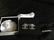 NIB CHANEL Large CC Logo RARE Swarovski Crystals Silver Twist Studs Earrings
