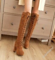 Fashion Womens Block Round Toe Knee High Boots Lace Up High Heel Chunky Shoes T1