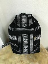 VINTAGE LOOK BACKPACK,HIPPIE GEAR,MEXICAN MADE,SURF GEAR,BEACH BAG,WHITE & BLACK