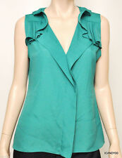 Nwt $158 Tahari SAGE Ruffled Tunic Top Tank Shirt Blouse Cami Peacoack Green M