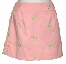 Lilly Pulitzer Skirt 4 Love All Mini Pink Cotton Embroidered Green Tennis Racket