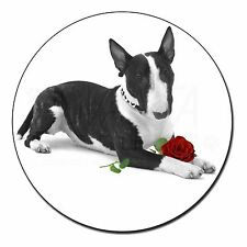 Bull Terrier Dog with Red Rose Fridge Magnet Stocking Filler Christ, AD-BUT2R2FM