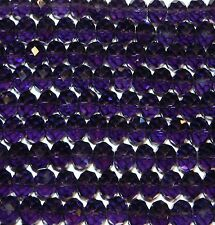 """CR832L Dark Purple 12x10mm Faceted Rondelle Crystal Glass Beads 12"""""""