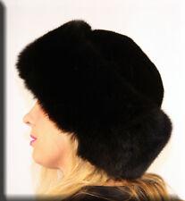 New Black Mink Fur Hat Black Fox Fur Trim - Efurs4less