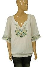 76514 NWT White Chocolate Floral Embroidered Smocked Tunic Top Plus Size 1X