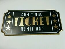 TICKET ADMIT ONE MOVIE Plaque Sign Film Theater Vintage Style Art Wall Decor 3D