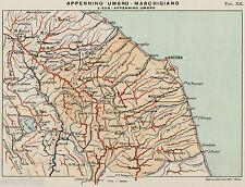 APPENNINO UMBRO-MARCHIGIANO. MONTE VETTORE.LAGO TRASIMENO. Carta Geografica.1899