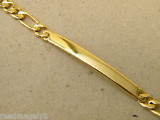 Baby Girl's Boy's Plain ID Bracelet Figaro Chain Yellow Gold Plated New 5in Long