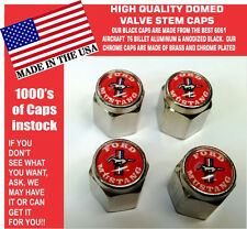 Chrome Ford Mustang 289 302 429 Shelby Cobra GT GT350 Red Valve Stem Caps