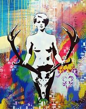 NUDE WITH ELK ANTLERS ART PRINT horns naked female girl head mount 11x14 poster
