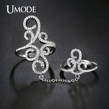 Vintage Crown Micro CZ White GP Double Finger Rings With Chain Jewelry for Women