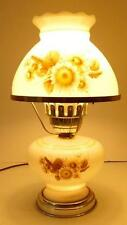 VTG ELECTRIC HURRICANE LAMP WITH LITE BASE BROWN AND GOLD SUNFLOWER DESIGN