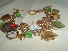 HEARTS AND FLOWERS GLASS AND CLOISONNE GOLDTONE CHARM BRACELET IN GIFT BOX