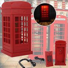Novelty  British Red Phone Booth Landline Dial Retro Cord Vintage Desk Telephone